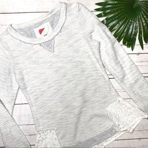 • Paper Locket • sz XS lace hem sweatshirt
